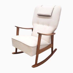 Mid-Century Danish Teak Rocking Chair in Beige, 1960s