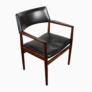 Dänischer Armlehnstuhl aus Palisander & Leder von Erik Wørts für Soro Stolefabrik