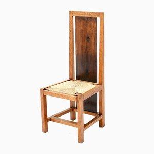 Art Deco Haagse School Stuhl mit hoher Rückenlehne aus Eiche von Cor Alons, 1923