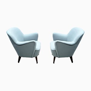Mid-Century Armchairs with Pastel Blue Upholstery, 1950s