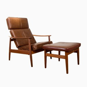 Danish Teak and Leather FD 164 Armchairs and Ottoman by Arne Vodder for France & Son, Set of 2