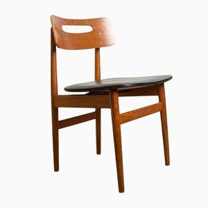 Danish Teak and Black Leatherette Chairs, 1960s, Set of 6