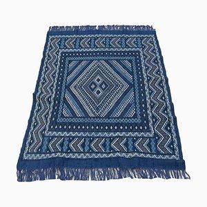 Vintage Berber Handmade Kilim Rug in Blue Wool