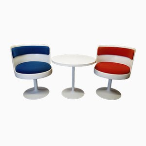 Vintage Space Age Tulip Lounge Chairs and Coffee Table Set, 1970s, Set of 3