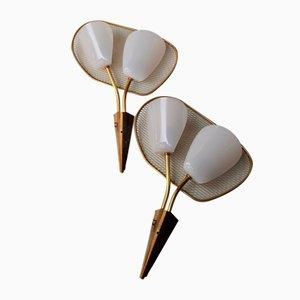 Wandlampen aus Plexiglas & Messing mit perforierten Schirmen, 1950er, 2er Set