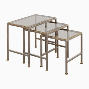 Mid-Century Brass and Chrome Nesting Tables, Set of 3
