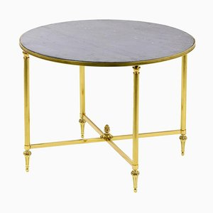 Round Table in Brass and Gray Marble from Maison Jansen, 1970s