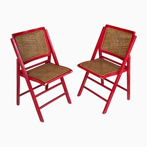 Red Cane Folding Chairs, France, 1970s, Set of 2