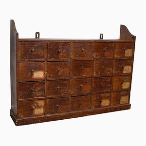 Dutch Industrial Pine Apothecary / Workshop Cabinet, 1920s