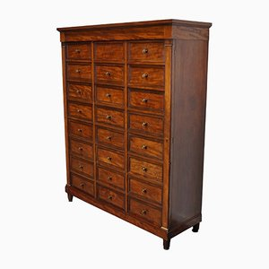 Empire Style French Mahogany Apothecary Cabinet / Filing Cabinet, 1920s