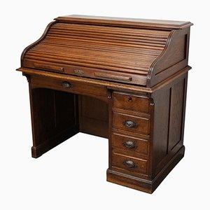 Antiker französischer Schreibtisch aus Eiche mit Rolltür, spätes 19. Jh