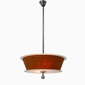 Bauhaus Chrome and Glass Pendant Lamp, 1930s