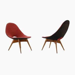 Fiberglas Stühle, Tschechoslowakei, 1960er, 2er Set