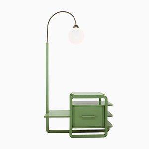 Bauhaus Stehlampe aus Holz & Chrom, 1930er