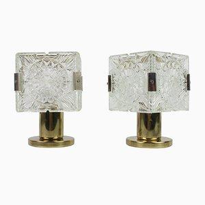Lámparas de mesa de cristal de Kamenicky Senov, años 70. Juego de 2