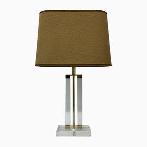Lámpara de mesa de metacrilato con detalles dorados, años 70