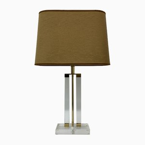 Lucite Table Lamp with Golden Details ,1970s