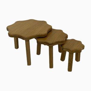 Oak Nesting Tables 1970s, Set of 3
