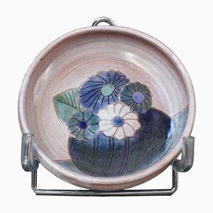 Cuenco francés de cerámica con motivos florales de Frères Cloutier, años 70