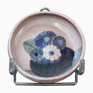 French Ceramic Bowl with Flowers Motif from Frères Cloutier, 1970s