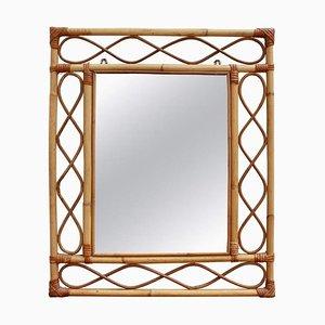 Vintage French Rectangular Rattan Wall Mirror, 1960s