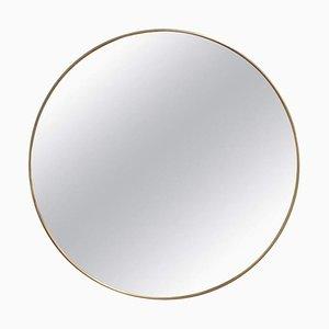 Vintage Italian Wall Mirror with Brass Frame by Gio Ponti