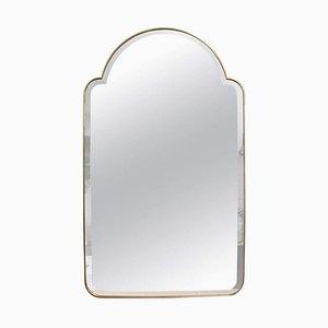 Mid-Century Italian Wall Mirror with Brass Frame by Gio Ponti