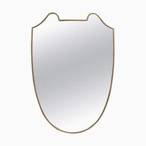 Specchio da parete Mid-Century con cornice in ottone, Italia, anni '50