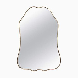 Specchio da parete vintage con cornice in ottone di Gio Ponti, Italia