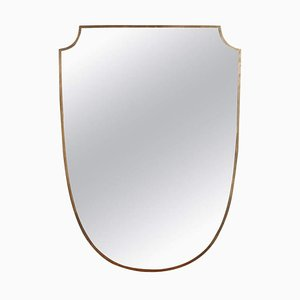 Mid-Century Crest-Shaped Italian Wall Mirror with Brass Frame