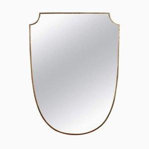 Specchio da parete Mid-Century a forma di stemma con cornice in ottone di Gio Ponti, Italia