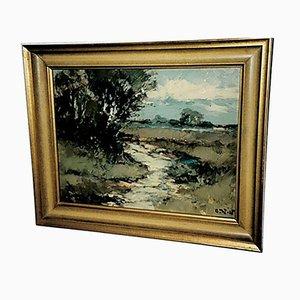 Pittura di paesaggio con ruscello e gruppo di betulle
