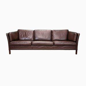 Sofá de tres plazas danés de cuero marrón de Mogens Hansen, años 70