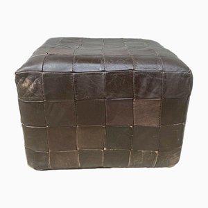 Mid-Century Danish Patchwork Leather Cube Foot Stool