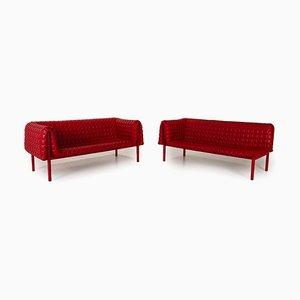 Juego de sofás Ruché de cuero rojo de Ligne Roset. Juego de 2