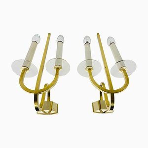Brass and Glass Sconces, 1960s, Germany, Set of 2