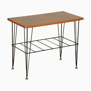 Small Mahogany Veneer and Metal Table, Italy, 1960s