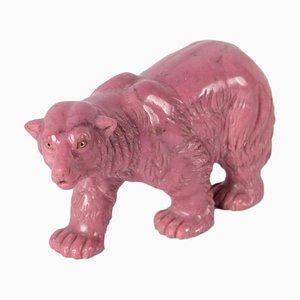 Rosa Bärenskulptur aus Marmor, Italien, 20. Jh