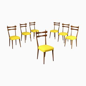 Stühle aus Buche & Kunstleder, Italien, 1950er, 7er Set