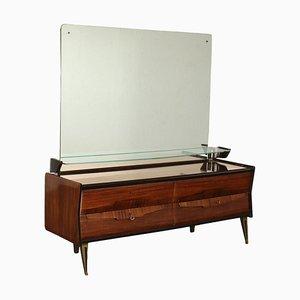 Comò impiallacciato in legno, specchio e ottone, anni '50