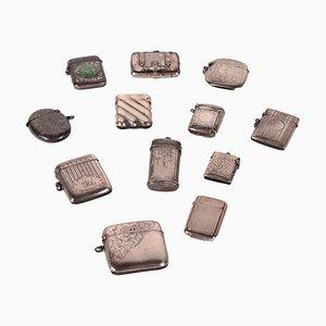 Scatole di fiammiferi in argento, Regno Unito, set di 12