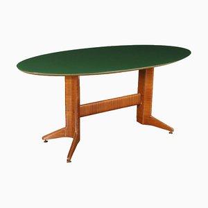 Mesa italiana de madera chapada y vidrio tratado, años 50