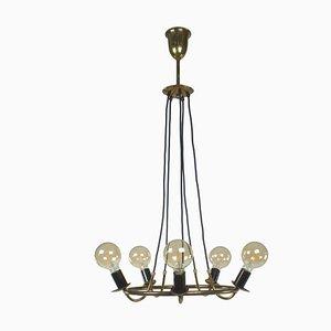 Brass Pendant Lamp in Stilnovo Style by Gaetano Sciolari
