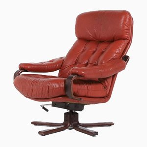 Swivel Leather Lounge Chair from G Möbel, Sweden, 1960s