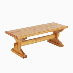 Small Solid Pine Bench Coffee Table, 1980s, Sweden