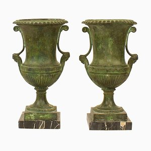 Late 19th Century Greek Revival Bronze Crater Vases, France, Set of 2