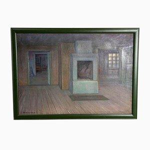 Pintura al óleo sueca de escena interior