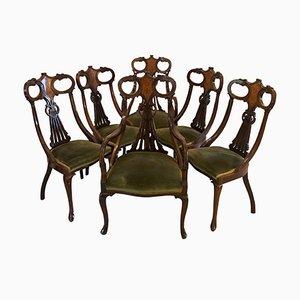 Antike Esszimmerstühle aus Mahagoni mit Intarsien, 6er Set