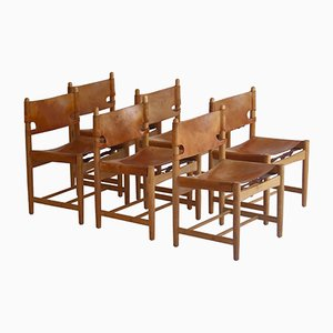 Oak and Leather Spanish Model BM3237 Dining Chairs by Børge Mogensen for Fredericia, Set of 6