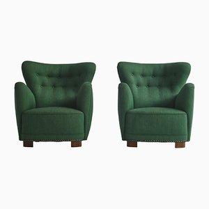 Scandinavian Easy Chairs by Fritz Hansen, 1940s, Denmark, Set of 2